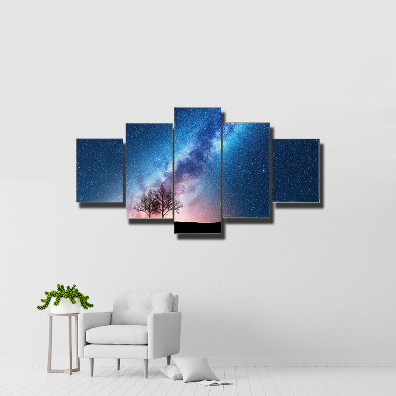 Trees Against Starry Sky With Milky Way Multi Canvas Print Wall Art