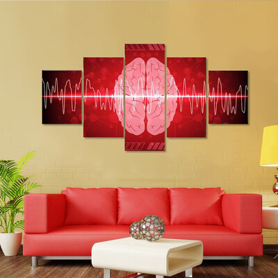 Brain Wave Illustration Multi Canvas Print Wall Art