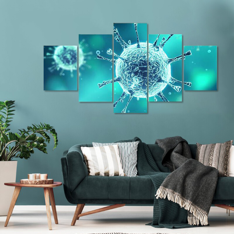 Close Up Of Virus Multi Canvas Print Wall Art