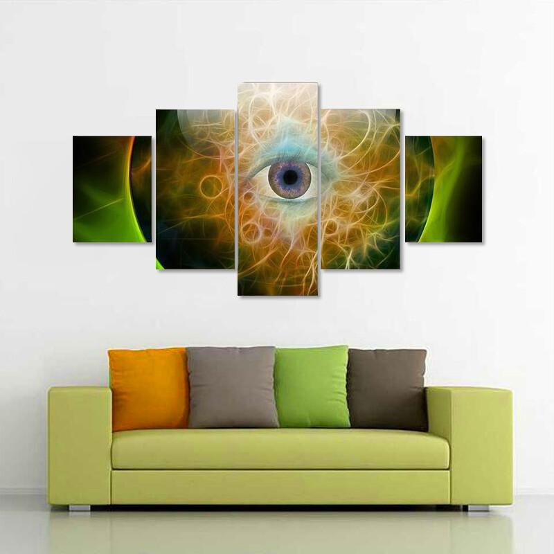 Crystal Ball With Eye Multi Canvas Print Wall Art
