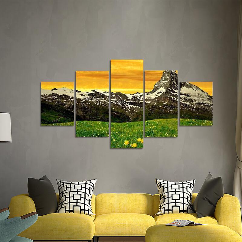 Matterhorn In Sunset Multi Canvas Print Wall Art