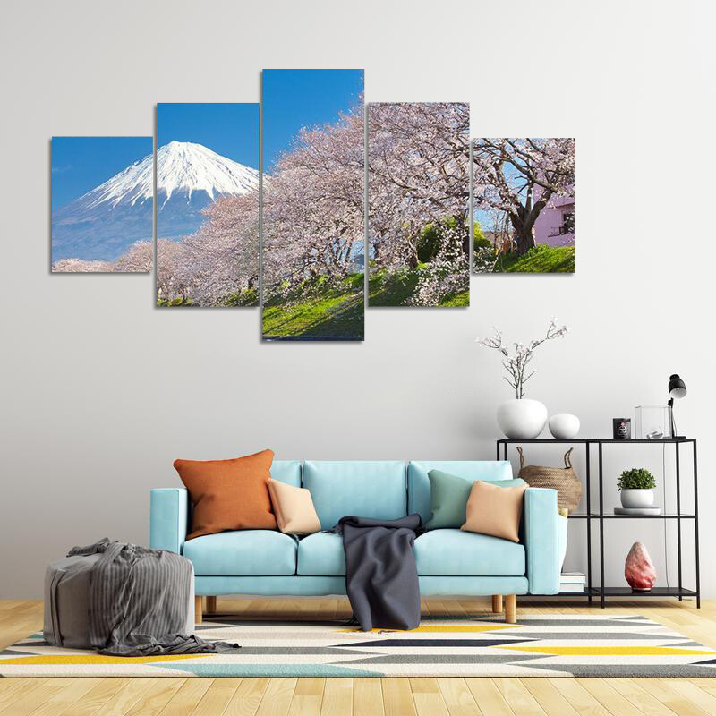 Mountain Fuji And Cherry Blossom Multi Canvas Print Wall Art