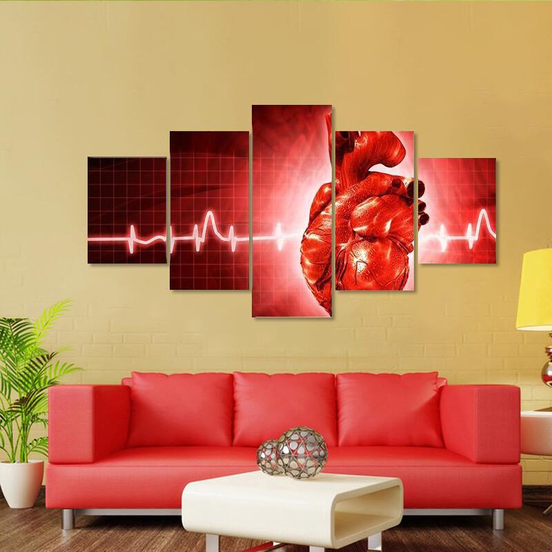 Ecg Of Human Heart Multi Canvas Print Wall Art