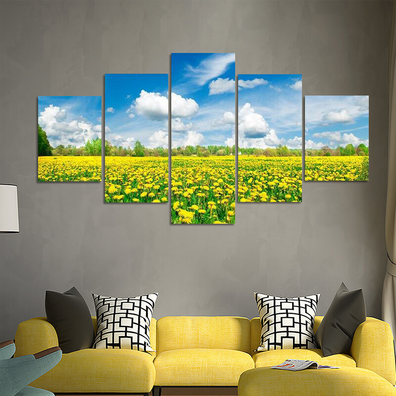 Meadow With Yellow Dandelions Multi Canvas Print Wall Art