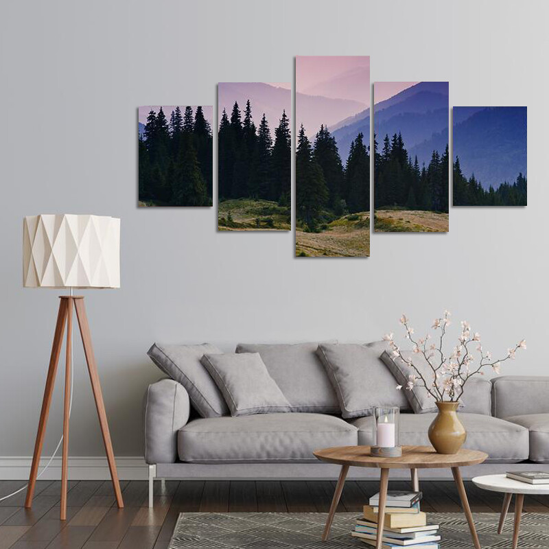 Morning In Mountains Multi Canvas Print Wall Art
