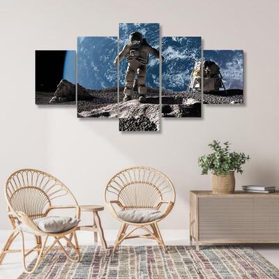 Astronaut On Asteroid Multi Canvas Print Wall Art