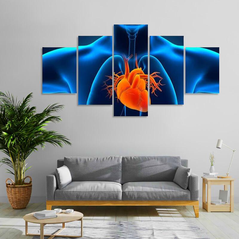 Human Heart Anatomy Multi Canvas Print Wall Art