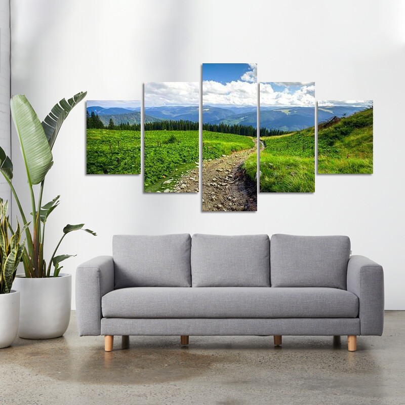 Mountain Path With Forest Multi Canvas Print Wall Art
