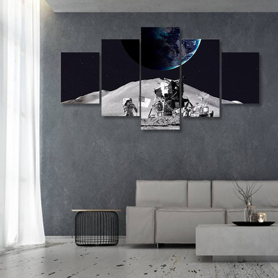 Astronaut On The Moon Multi Canvas Print Wall Art