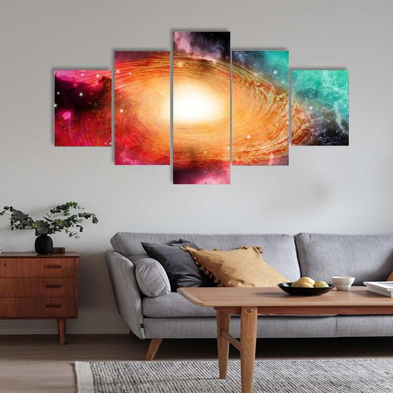 Beautiful Spiral Galaxy Multi Canvas Print Wall Art