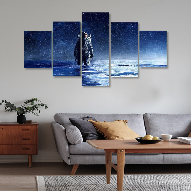 Astronaut Standing In Water Multi Canvas Print Wall Art