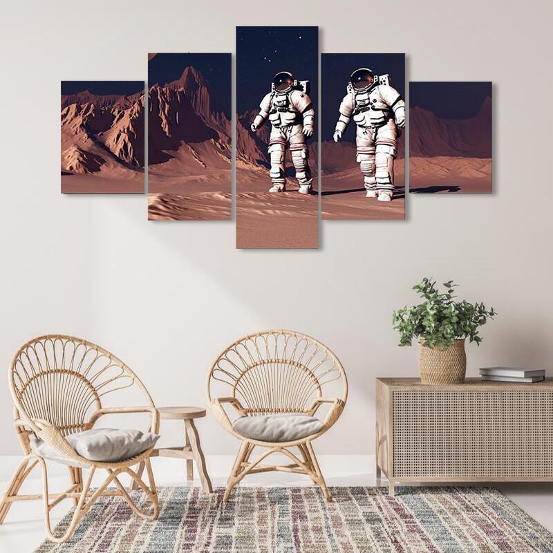 Astronauts Walking On Mars Multi Canvas Print Wall Art