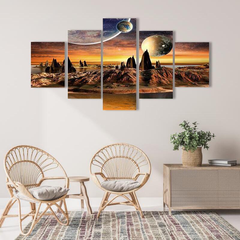 Beautiful Alien Planet Multi Canvas Print Wall Art