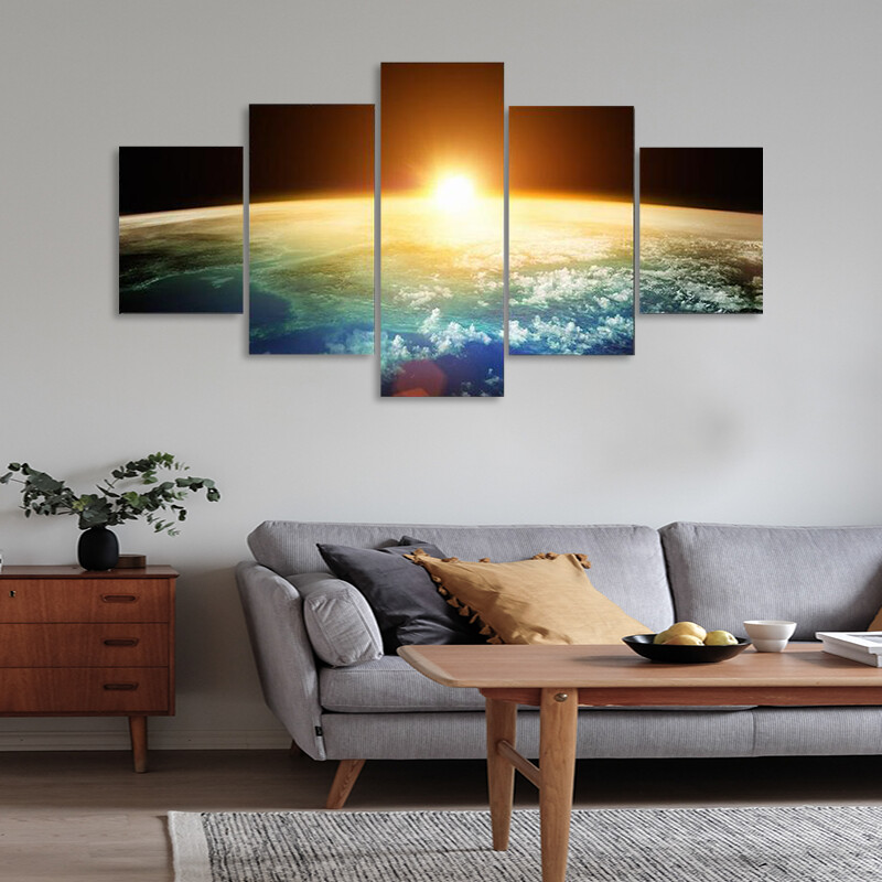 Beautiful Sunset On Planet Earth Multi Canvas Print Wall Art