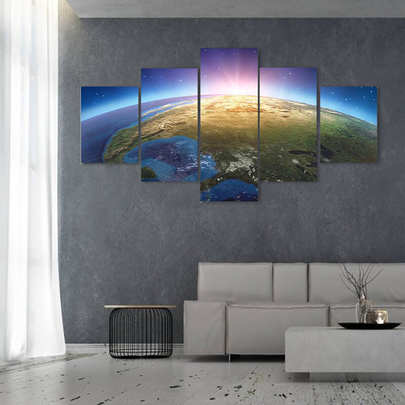 Blue Earth From Space Multi Canvas Print Wall Art