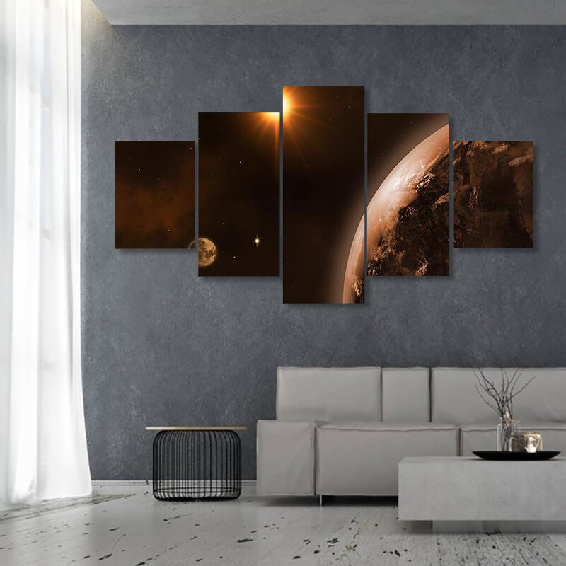 Beautiful View Of Sun Moon Multi Canvas Print Wall Art