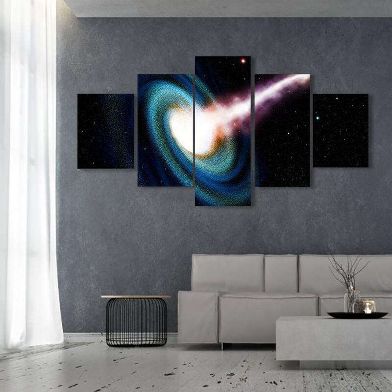 Black Hole Swallowing Galaxy Multi Canvas Print Wall Art