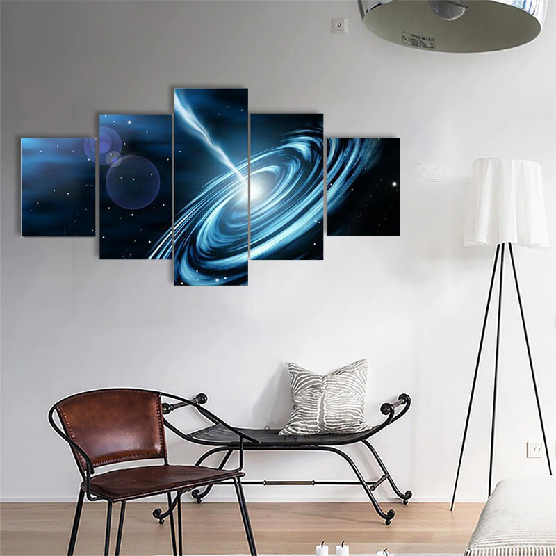 Blue Galaxy With Star Multi Canvas Print Wall Art