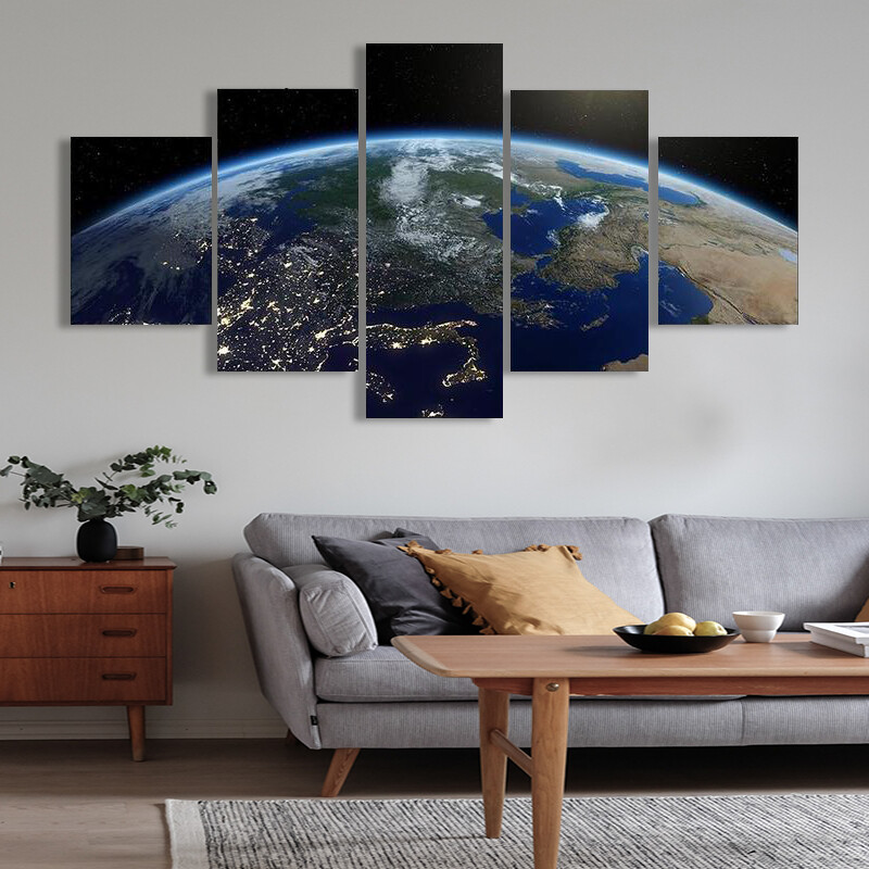 Bright Sun On Planet Earth Multi Canvas Print Wall Art