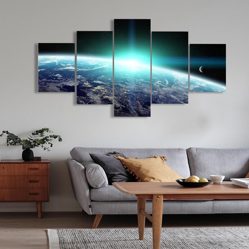Bright Sun On Planet Earth Multi Canvas Print Wall Art