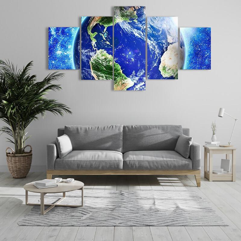 Blue Planet Earth Multi Canvas Print Wall Art