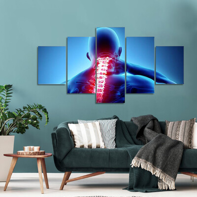 Painful Neck With Spine Skeleton Multi Canvas Print Wall Art