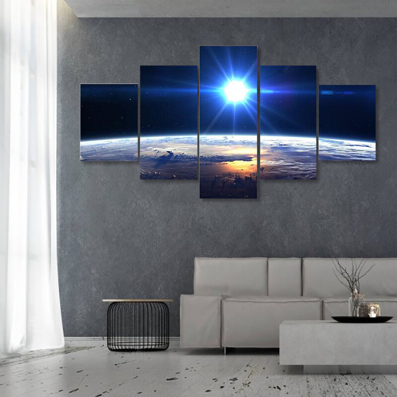 Blue Sun Light Over Earth Multi Canvas Print Wall Art