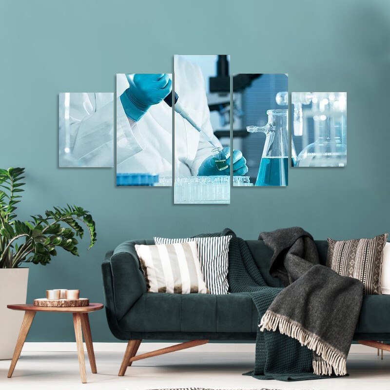 Scientist Working At The Laboratory Multi Canvas Print Wall Art