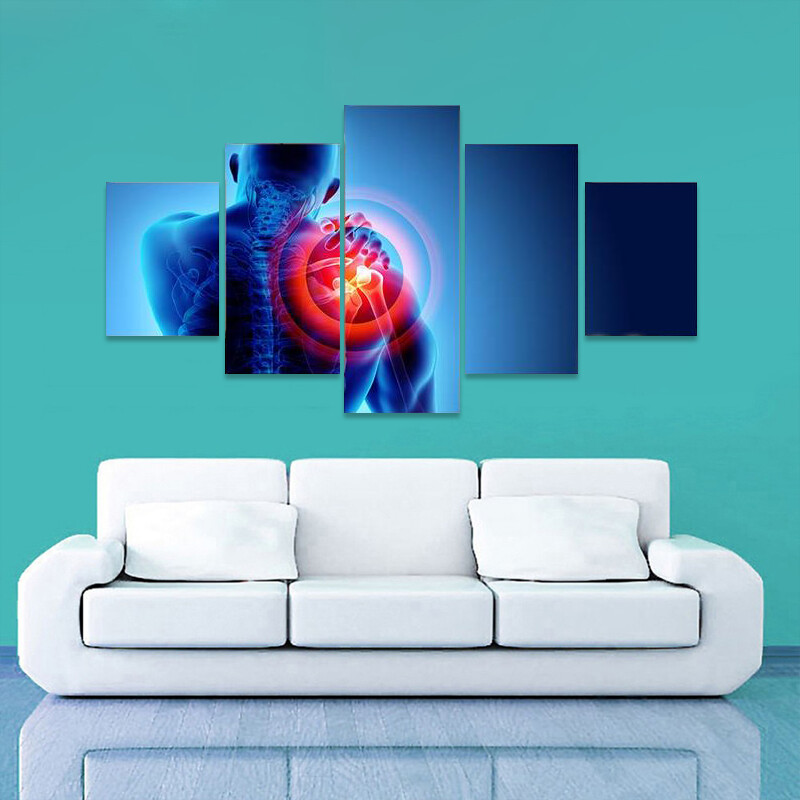 Shoulder Painful Skeleton X-Ray Multi Canvas Print Wall Art