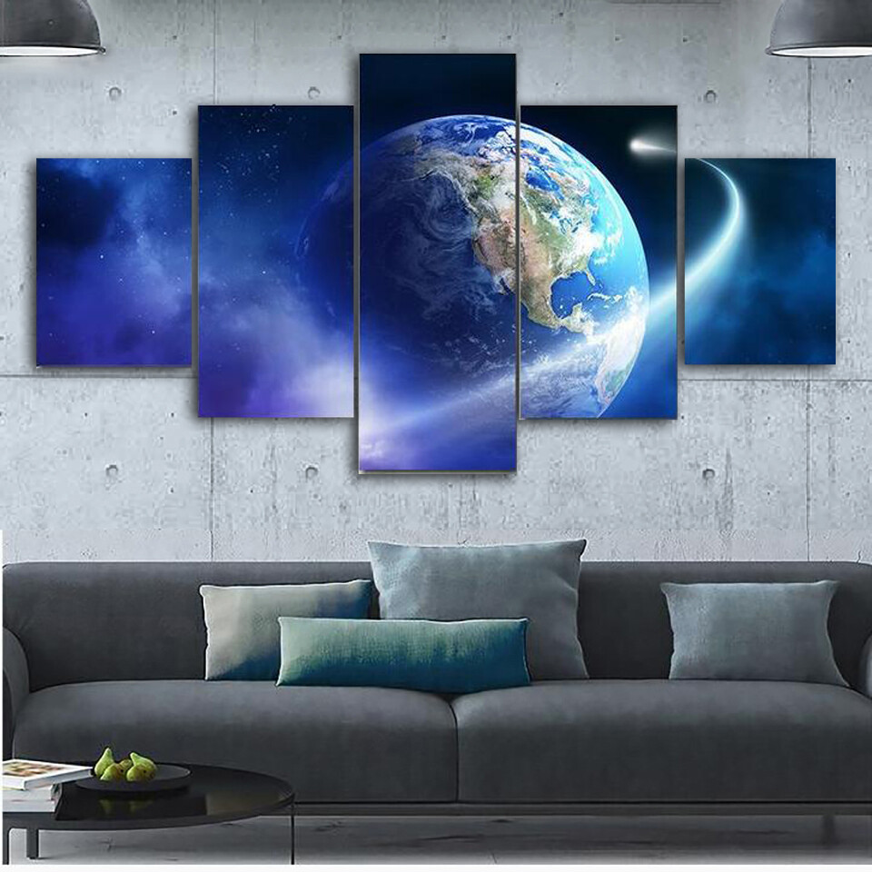 Comet Passing Earth Multi Canvas Print Wall Art