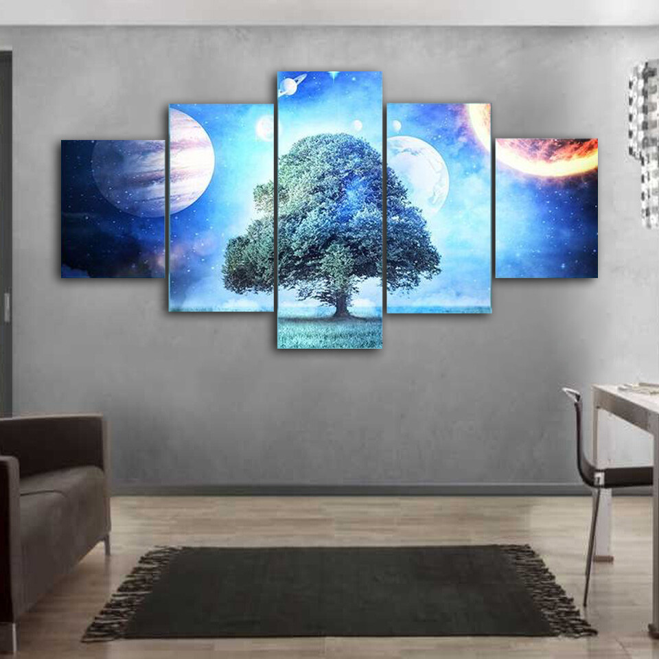 Composite Image Of Solar System Multi Canvas Print Wall Art