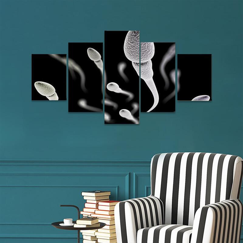 Sperm Visualization On Black Multi Canvas Print Wall Art
