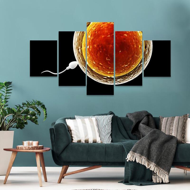 Spermatozoon Floating To Ovule Multi Canvas Print Wall Art