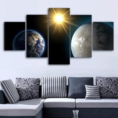 Earth And Kepler Multi Canvas Print Wall Art