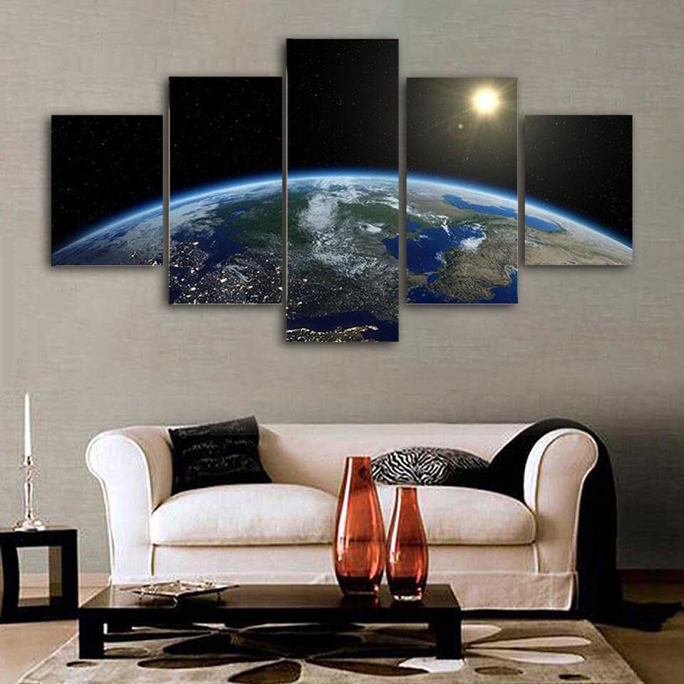 Earth From Satellite Multi Canvas Print Wall Art