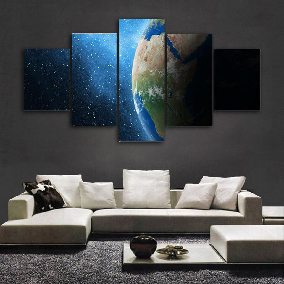 Earth And Milky Way Multi Canvas Print Wall Art