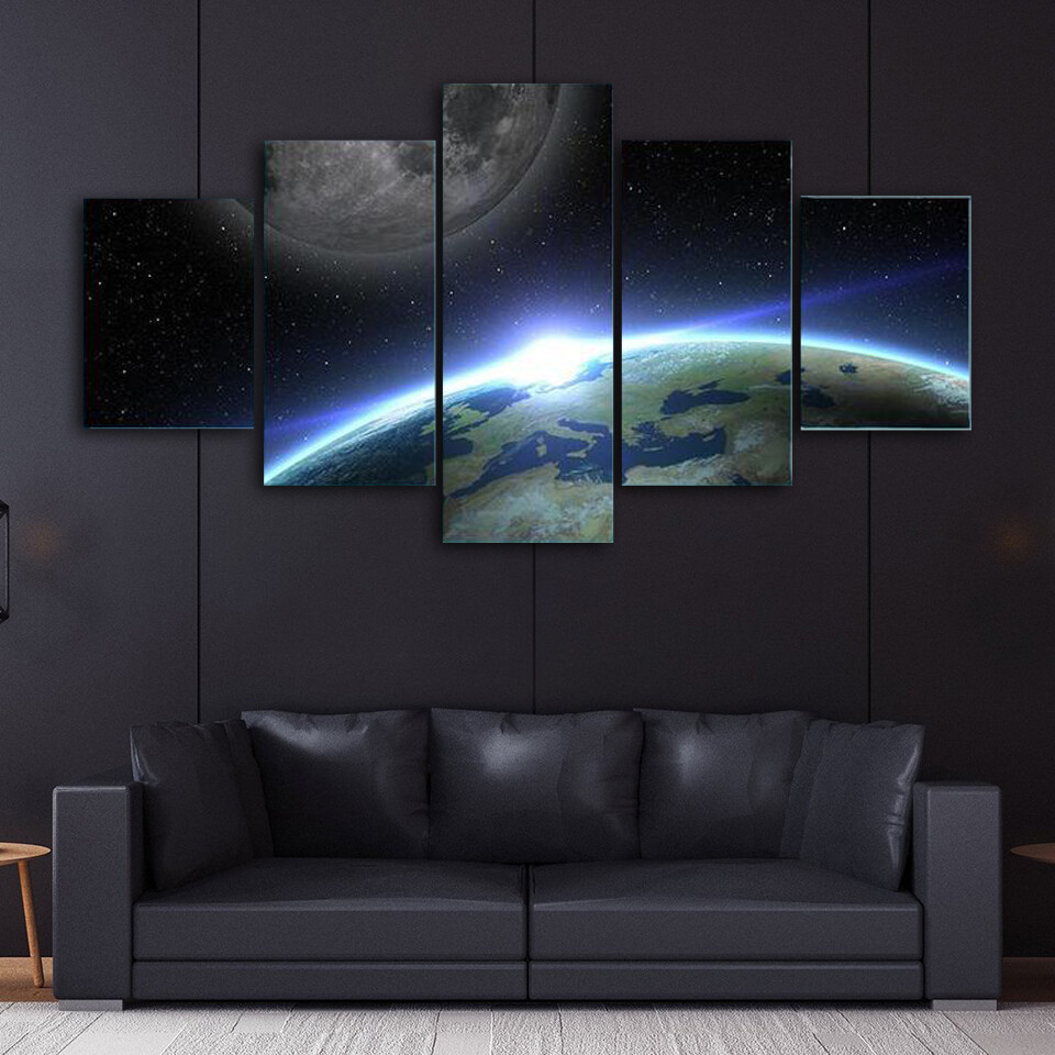 Earth And Moon Outer Space Multi Canvas Print Wall Art