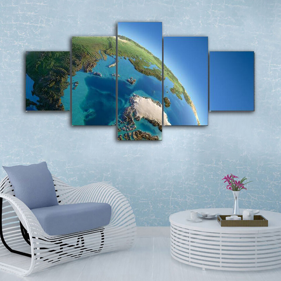Earth Illustration Multi Canvas Print Wall Art
