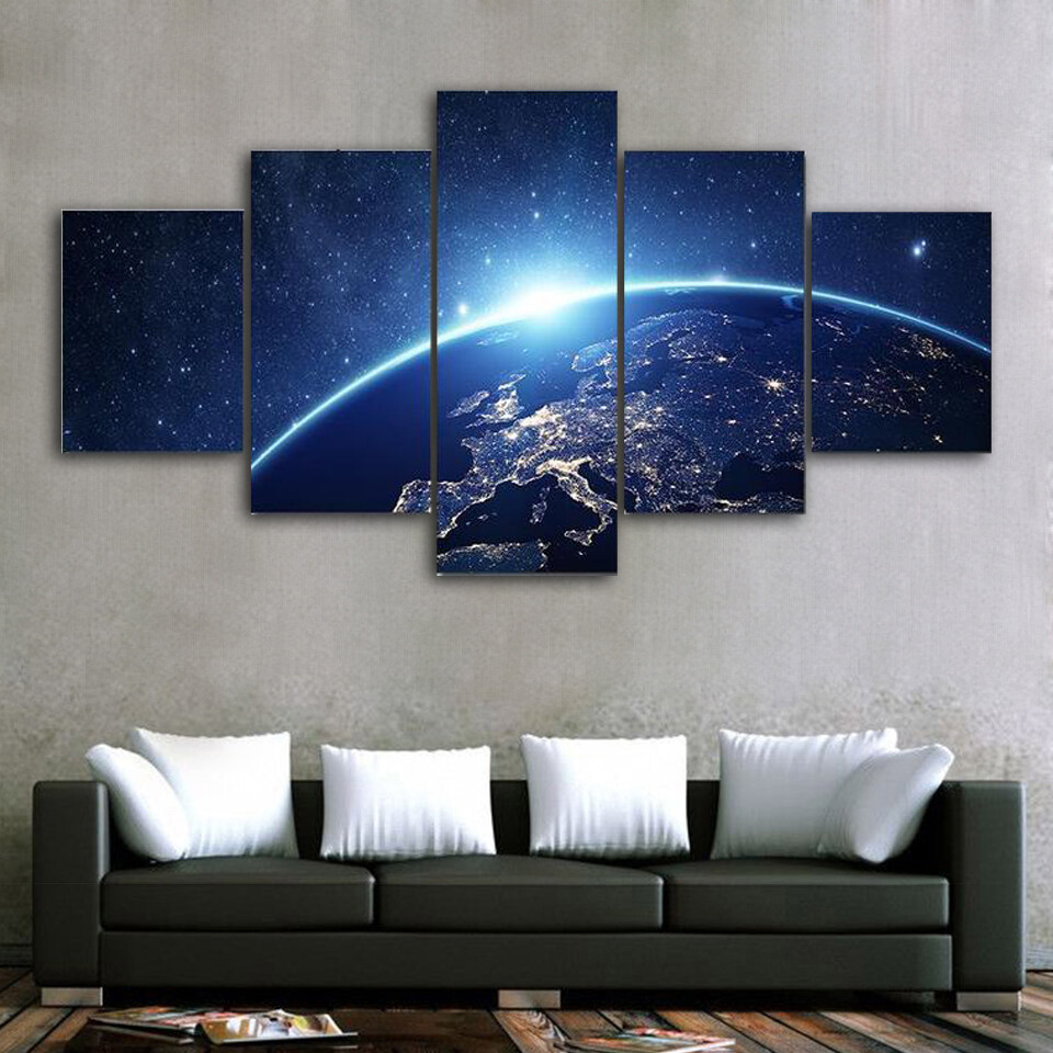 Earth From Space Multi Canvas Print Wall Art