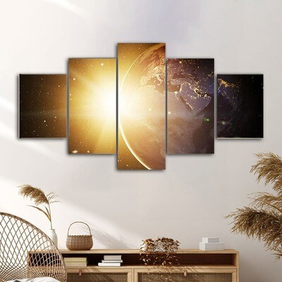 Earth In Cosmos Multi Canvas Print Wall Art