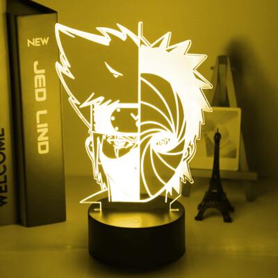 Face Obito Uchiha and Kakashi Hatake Naruto 3D Night Light Table Lamp