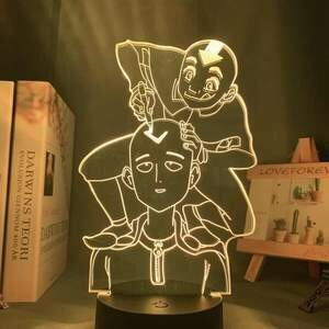 Aang And One Punch Man 3D Night Light Table Lamp