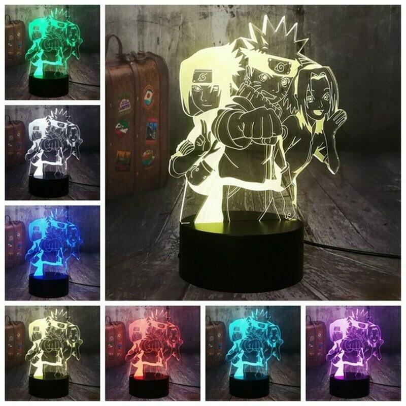 Anime Naruto Uzumaki Kakashi 3D Night Light Table Lamp