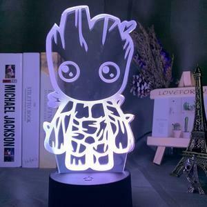 Cute Baby Groot 3D Night Light Table Lamp