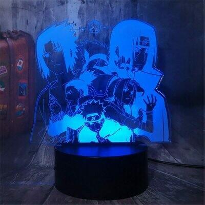 Naruto Cartoon kids Uzumaki Kakashi Sasuke Haruno Sakura 3D Night Light Table Lamp