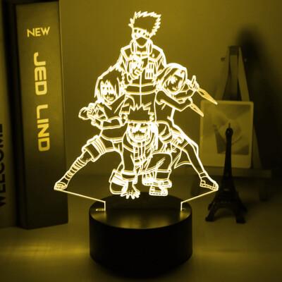 Naruto Team 7 Uzumaki Naruto Sasuke Sakura Kakashi 3D Night Light Table Lamp