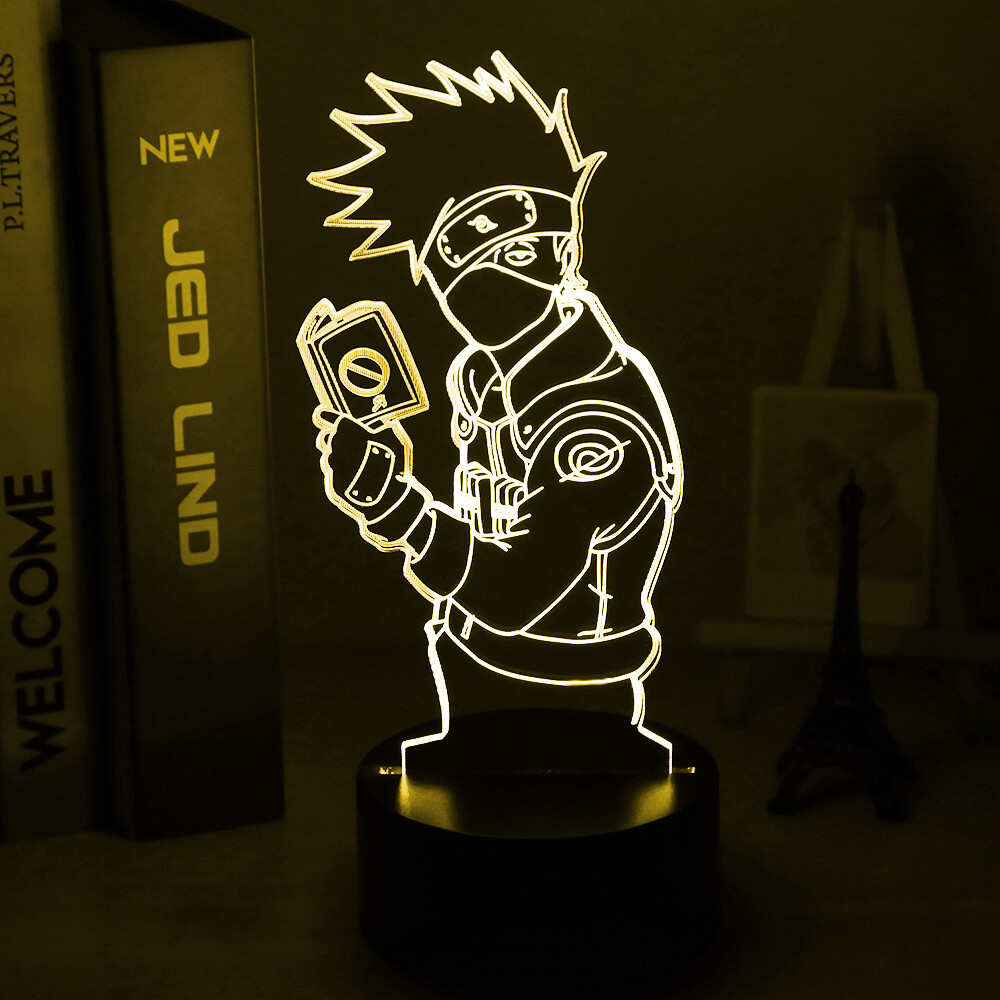 Kakashi Hatake Holding Book Naruto 3D Night Light Table Lamp