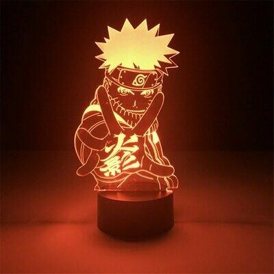 Naruto Cartoon Uzumaki Kakashi Sasuke 3D Night Light Table Lamp