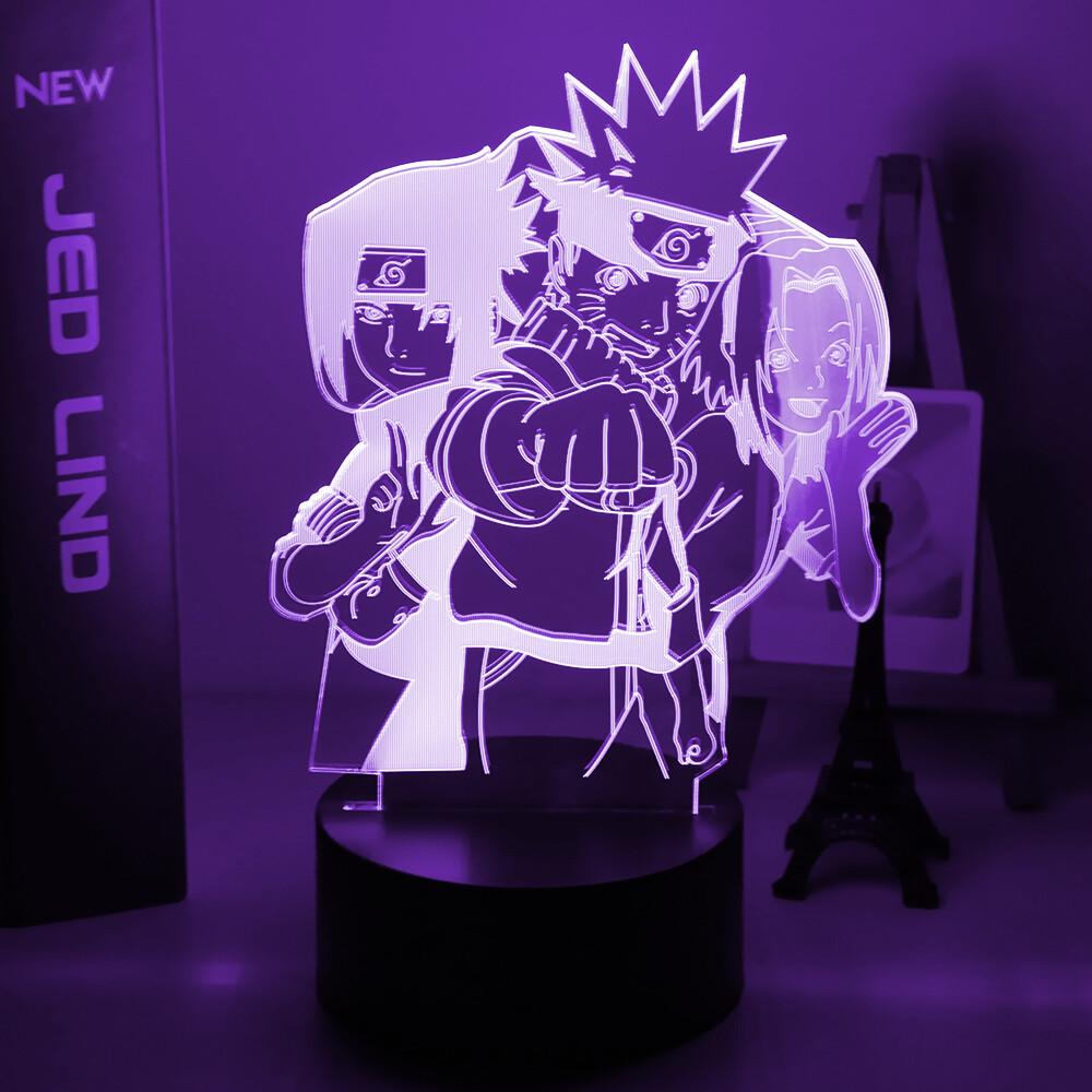 Naruto Hayato Sasuke Sakura 3D Night Light Table Lamp