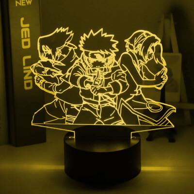 Naruto Team 7 Uzumaki Naruto Sasuke Sakura 3D Night Light Table Lamp